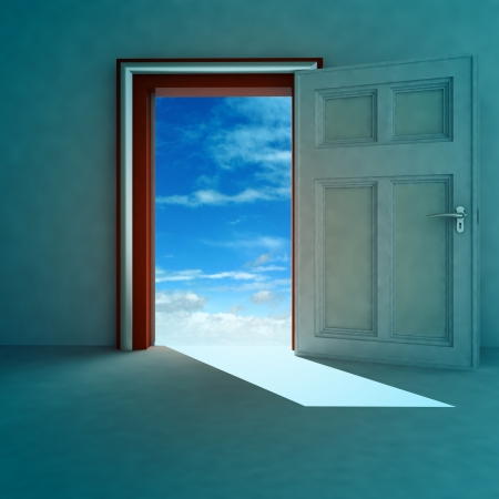 door way: open door to heaven space with red frame and shadow render illustration Stock Photo
