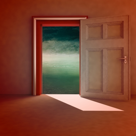 open door to natural space with red frame and shadow illustration illustration