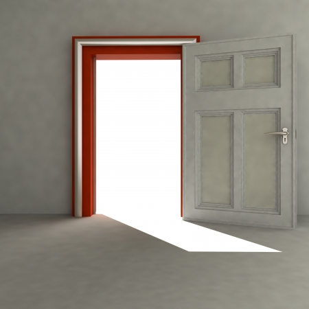 open door to empty space with red frame and shadow render illustration illustration