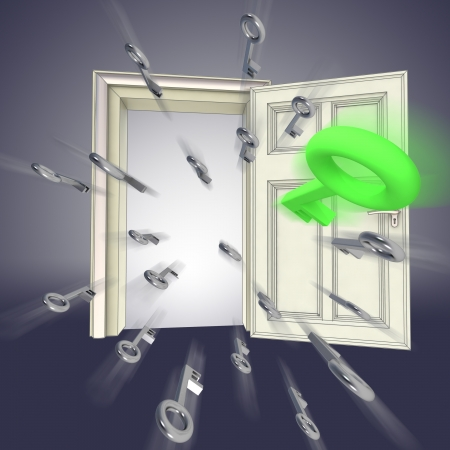 flying keys opening door abstract violet concept illustration Stock Illustration - 15935900