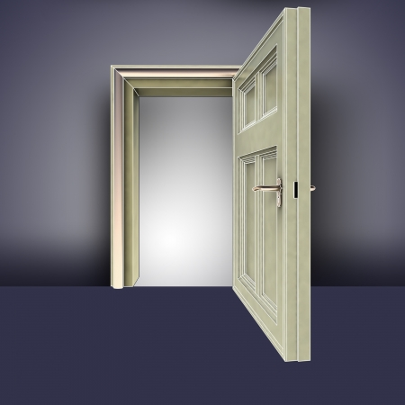 open doorway frame in empty room concept illustration illustration