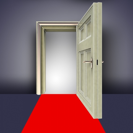 succes: clear room open door with red carpet concept illustration Stock Photo