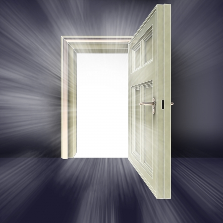 alighted: open door with center flare abstract concept illustration