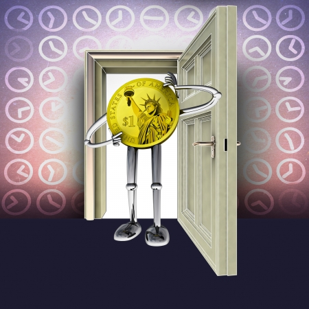 open door with time pattern and dollar coin figure concept illustration illustration