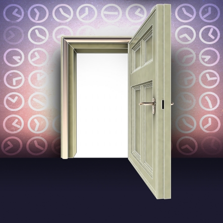 abstract time: open door in lighting abstract time space concept illustration Stock Photo