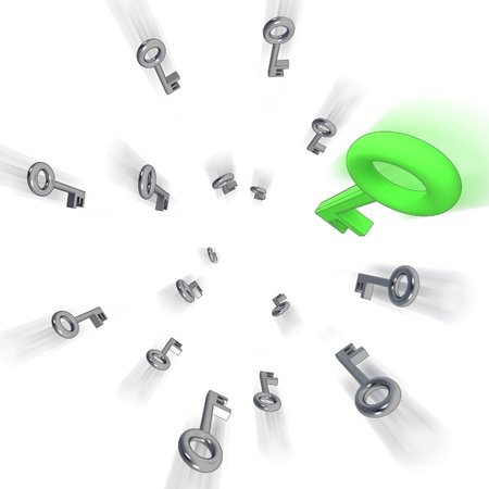 fast central flying keys blur on white illustration Stock Illustration - 15935875