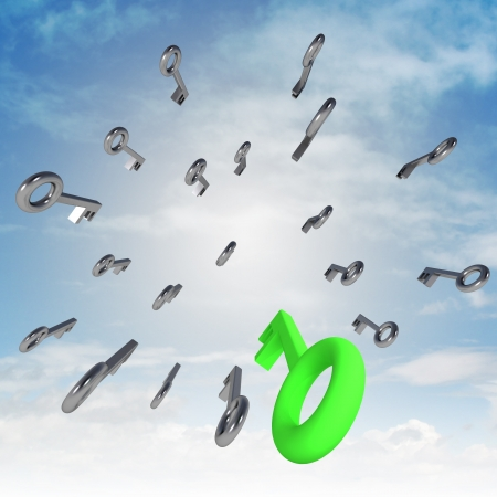 central flying central keys with green right one illustration Stock Photo