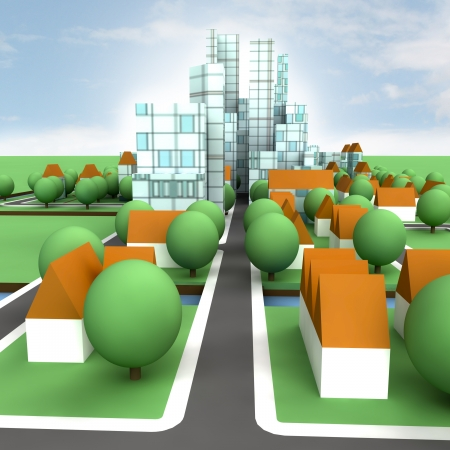 street view to city concept development illustration Stock Photo