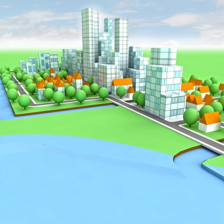 new sustainable city concept development on seaside illustration