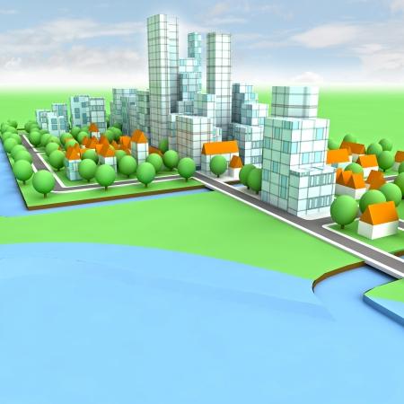 office environment: new sustainable city concept development on seaside illustration