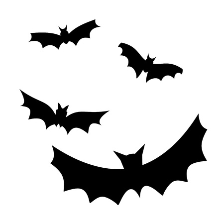 at bat: four flying bat silhouettes vector illustration