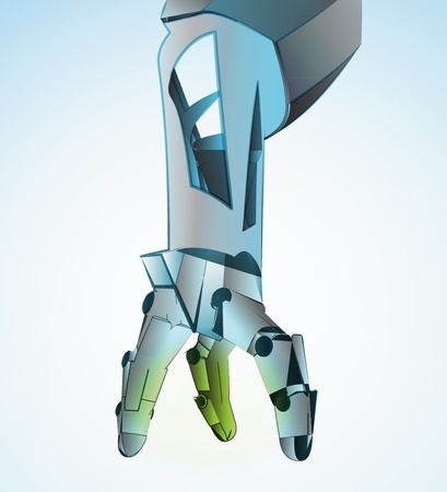 manipulating: Robotic hand manipulating in future vector illustration