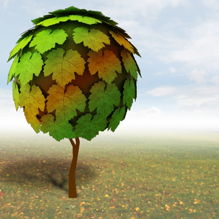 treetop: lonely maple treetop with autumn meadow illustration Stock Photo