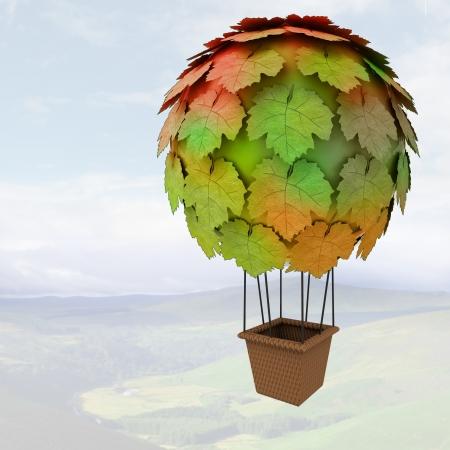balon: ecologic maple baloon concept flying above mountains render illustration