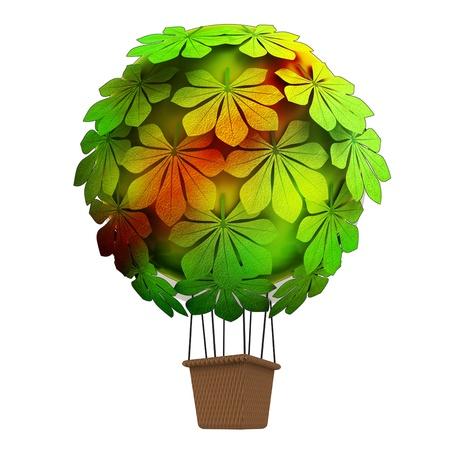 aislado concepto ecológico globo volando por encima de la castaña hacer ilustración mar Foto de archivo - 15936491