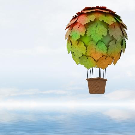 balon: ecologic maple leaves baloon concept flying above ocean illustration