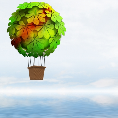 balon: ecologic chestnut baloon concept flying above ocean render illustration
