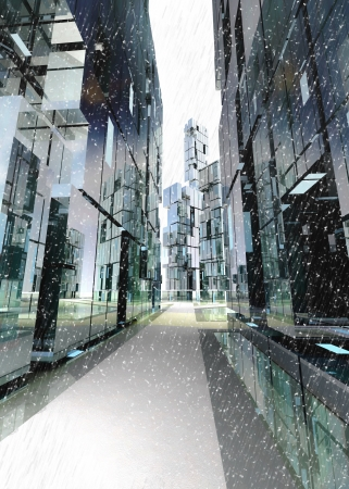 shinning and alight skyscraper business street design concept winter render illustration illustration