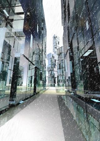 alight: shinning and alight skyscraper business street design concept winter render illustration