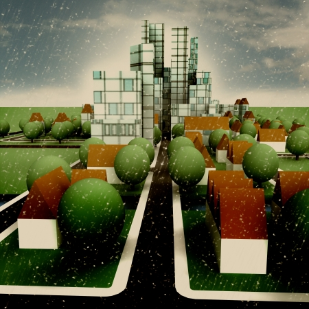 wintertime: street view to city wintertime concept development illustration