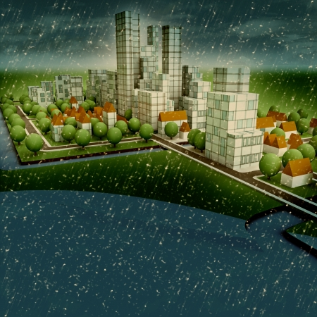 new sustainable city winter concept development on seaside illustration illustration