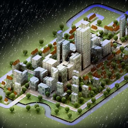 wintertime: landscape of new sustainable city wintertime concept development illustration perspective render illustration