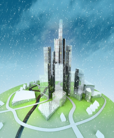 beautiful super modern sustainable city view development unit cityscape at winter view with kdy background illustration Stock Illustration - 16157240