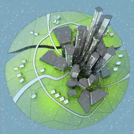 beautiful super modern sustainable city view development unit cityscape with snow falling from top view illustration Stock Photo