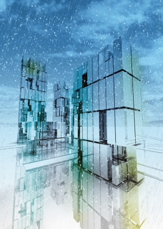 alight: shinning and alight skyscraper business city design concept winter render illustration