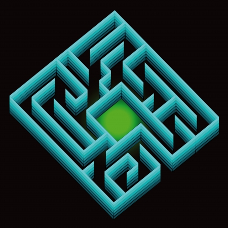 blue shaded labyrinth with green light concept vector Stock Vector - 16157212