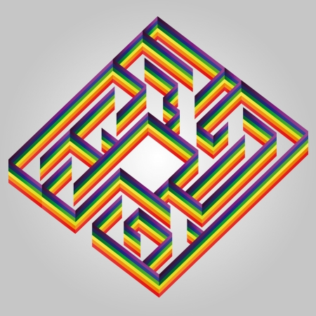 rainbow painted labyrinth wall card wish concept vector Vector