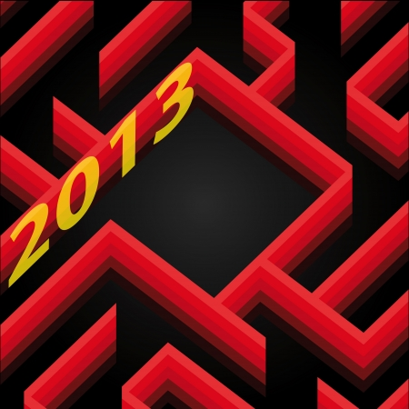 red shaded labyrinth wall new year card wish vector Stock Vector - 16157205