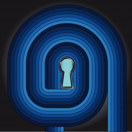 right choice: blue striped swirl way to right choice door keyhole concept Illustration