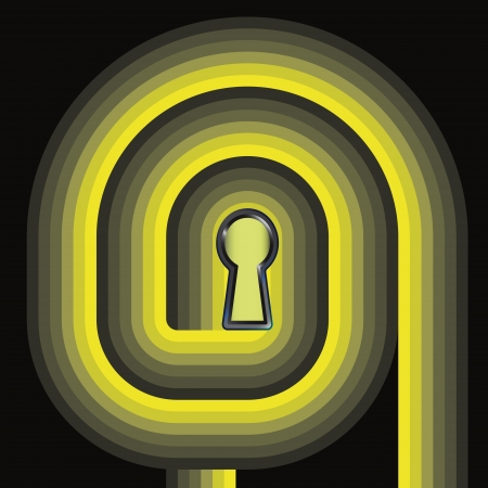 yellow swirl way to right choice door keyhole concept Vector
