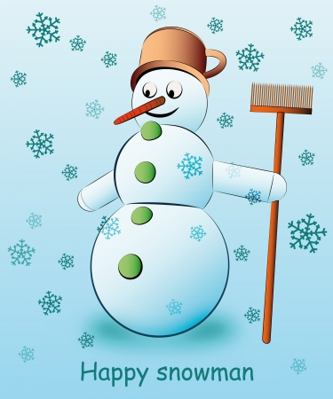 cute snowman holding broom with falling snow vector illustration Vector