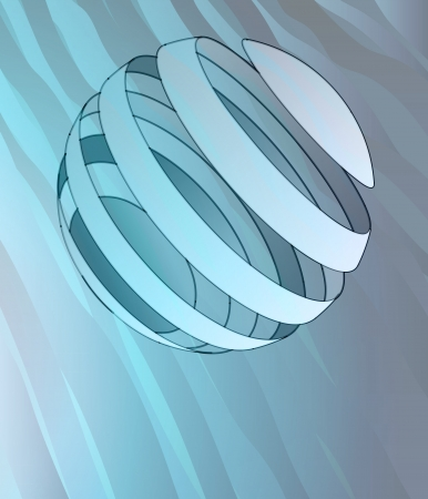 alighted: blue alighted wave surface with striped ball decoration vector