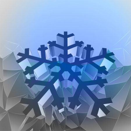 three dimensional magic blue mountain card with snowflake vector Stock Vector - 16157688