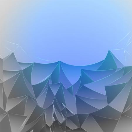 three dimensional magic blue mountain card vector template Stock Vector - 16157661