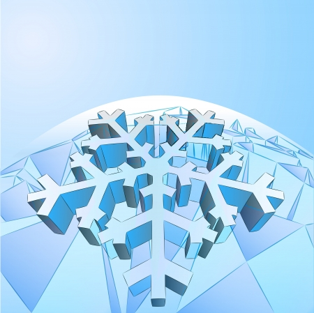 three dimensional crystal blue card with snowflake vector template Stock Vector - 16157642