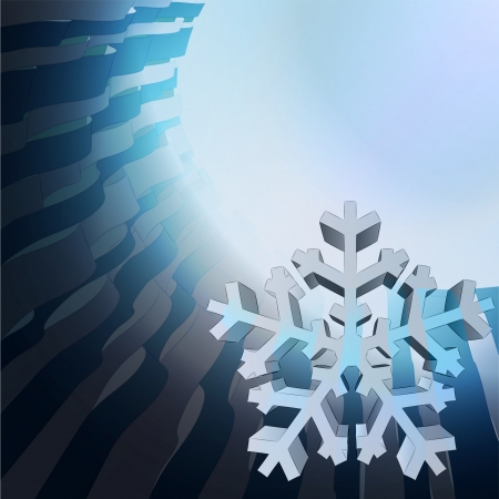 blue curly geometric template with white snowflake vector Stock Vector - 16157702