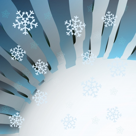 blue wavy geometric template with falling snow vector Stock Vector - 16157605