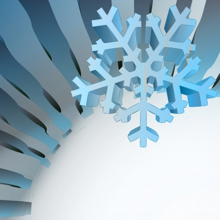 blue wavy geometric template with winter snowflake vector Stock Vector - 16157607