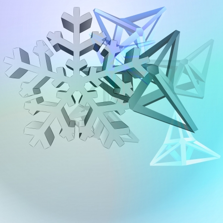 triangular shape cluster with snowflake blue vector background Stock Vector - 16157659
