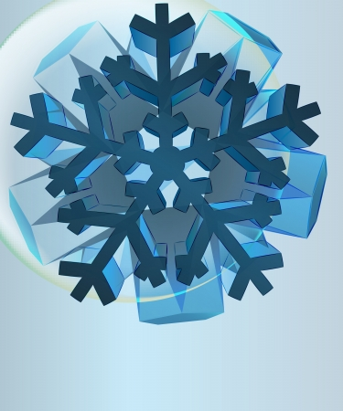 card template snowflake in left upper corner bubble vector Stock Vector - 16157382