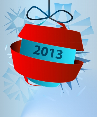 blue card template with hanging decoration swirl vector Stock Vector - 16157213
