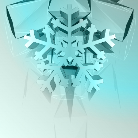 dimensional crystal blue shape card with snowflake vector template Stock Vector - 16157622