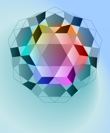 crystalline: magic lighting diamond geometry card vector template Illustration