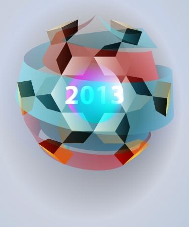 dimensional magic lighting sphere blizzard card vector template Stock Vector - 16157630