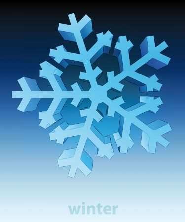 three dimensional top view snowflake winter card vector template Stock Vector - 16157617
