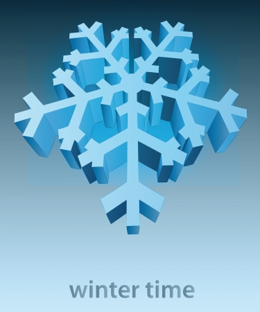 three dimensional snowflake blue winter card vector template Stock Vector - 16157631